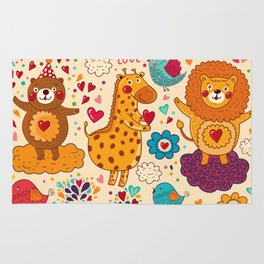 Animals in love Rug