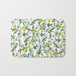 Lime Tree Branch Pattern Watercolor Bath Mat