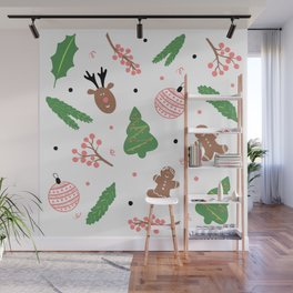 Christmas pattern in pink Wall Mural