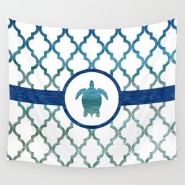 Turtle: Tropical Water Moroccan Pattern Wall Tapestry