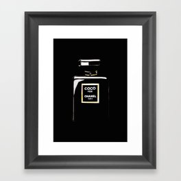 Classic Black Parfum on black Framed Art Print
