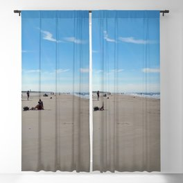 low tide sand beach sunny summer day at ouddorp zeeland netherlands europe Blackout Curtain