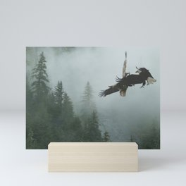 Battle for the Cedars - Bald Eagles Wildlife Scene Mini Art Print