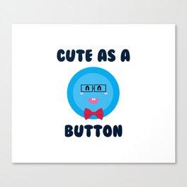 Cute As A Button (Blue Nerd) Canvas Print