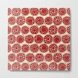 flower block red ivory Metal Print