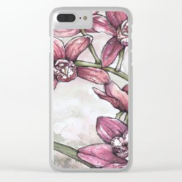 Orchids - Watercolor and Ink artwork Clear iPhone Case