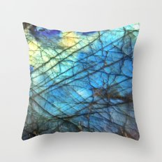 Royal Labradorite Crystal Gemstone Print Throw Pillow