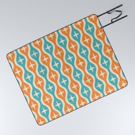 Mid century Modern Bulbous Star Pattern Orange and Turquoise Picnic Blanket