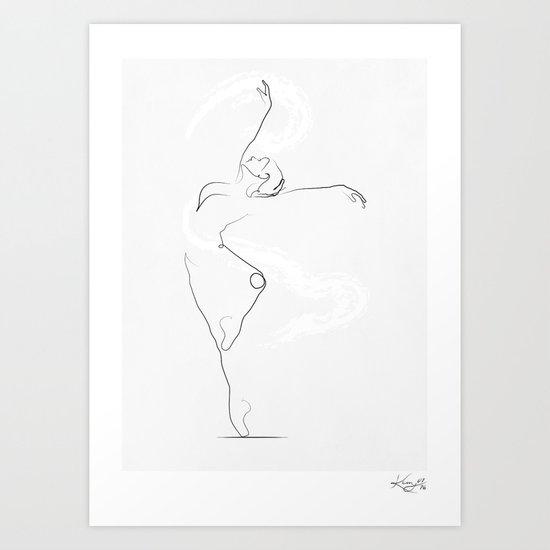 U0026 39 Unfurl U0026 39   Dancer Line Drawing Art Print By Kerry Kisbey
