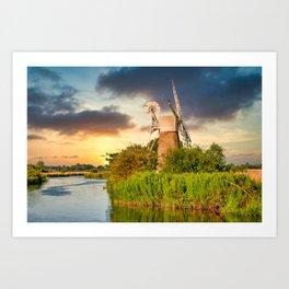 Windmill on River Ant Art Print