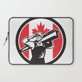 Canadian Construction Worker Canada Flag Icon Laptop Sleeve