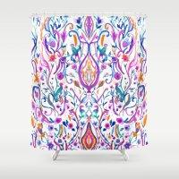folk Shower Curtains featuring Folk Paradise by Nikkistrange