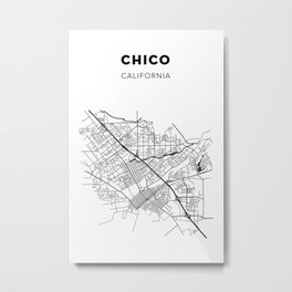 CHICO MAP PRINT Metal Print