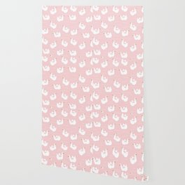 Swan Pool Float in Millenial Pink Wallpaper
