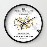neil gaiman Wall Clocks featuring Make Good Art - Neil Gaiman by thatfandomshop