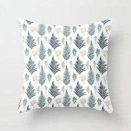 turquoise fern pattern Throw Pillow