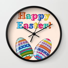 Happy Easter with ornamental eggs Wall Clock