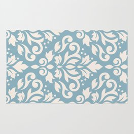 Scroll Damask Large Pattern Cream on Blue Rug