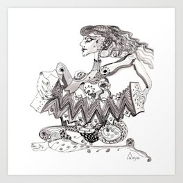 A woman with an accordion Art Print