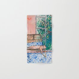 Napping Ginger Cat in Pink Jungle Garden Room Hand & Bath Towel