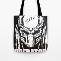 predator Tote Bags featuring Predator by OneAppleInBox