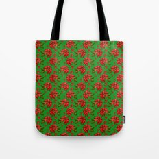 Red Poinsettia Plaid Tote Bag