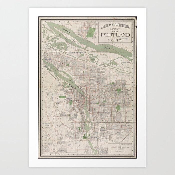 Vintage Oregon Map.Vintage Map Of Portland Oregon 1912 Art Print By Bravuramedia