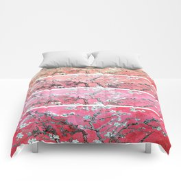 Van Gogh Almond Blossoms Deep Pink to Peach Collage Comforters