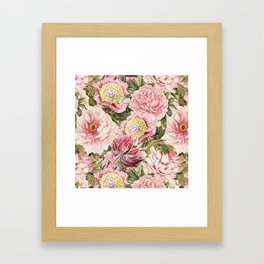 Vintage & Shabby Chic Floral Peony & Lily Flowers Watercolor Pattern Framed Art Print