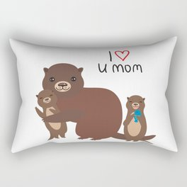 I Love You Mom. Funny brown kids otters with fish on white background. Gift card for Mothers Day. Rectangular Pillow
