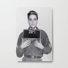 Elvis Presley Mugshot, Wall Art, Gift for Him, Cool, Retro, Vintage Print, Metal Print
