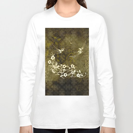 Fantasy birds with flowers Long Sleeve T-shirt
