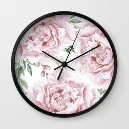 Beautiful Pink Roses Garden Wall Clock
