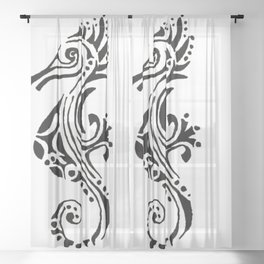 seahorse tatoo white Sheer Curtain