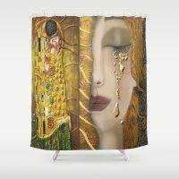 gustav klimt Shower Curtains featuring My Klimt Serie:Gold by Müge Başak