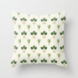 Modern ivory green tropical cheese monster leaves floral Throw Pillow