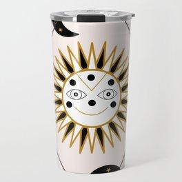 Smiling sun and celestial elements Travel Mug
