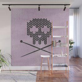 Knitted Skull (Black on Pink) Wall Mural
