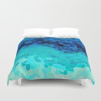 geometric Duvet Covers featuring INVITE TO BLUE by Catspaws
