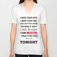 ellie goulding V-neck T-shirts featuring I Need Your Love ; Ellie Goulding feat. Calvin Harris by Wis Marvin