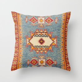 Moroccan 19th Century Authentic Colorful Baby Blue Vintage Patterns Throw Pillow
