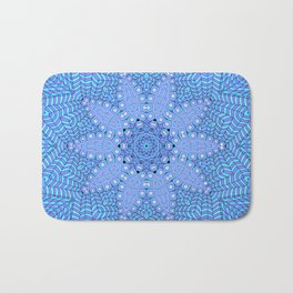 Malibu, Indigo & Aquamarine Flower Patterm Mandala Bath Mat
