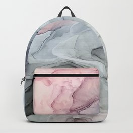 Pastel Blush, Grey and Blue Ink Clouds Painting Backpack