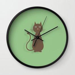 Plotting Feline on Green Wall Clock