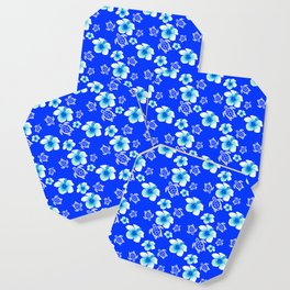 Blue Floral And Turtles Hawaiian Pattern Coaster