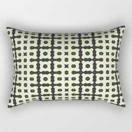 Abstract Dark Blue and White Pattern with Gold Details Rectangular Pillow