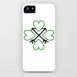 St. Patrick's Day Shamrock Lucky Charm Green Clover Veart with Arrows iPhone Case
