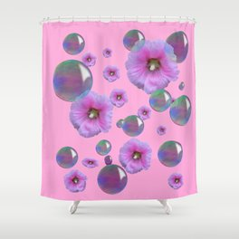PINK-PURPLE FLOATING HOLLYHOCKS & SOAP BUBBLES PINK  ART Shower Curtain