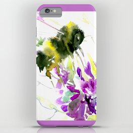 Bumblebee and Flowers floral bee design iPhone Case