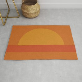 Retro Geometric Sunset Rug